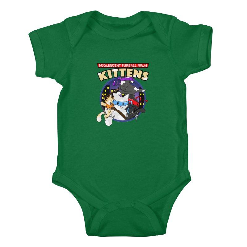 Adolescent Furball Ninja Kittens Kids Baby Bodysuit by Norman Wilkerson Designs