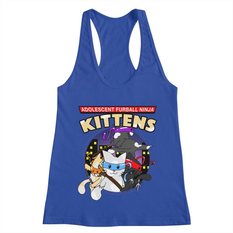 Adolescent Furball Ninja Kittens Women's Racerback Tank by Norman Wilkerson Designs