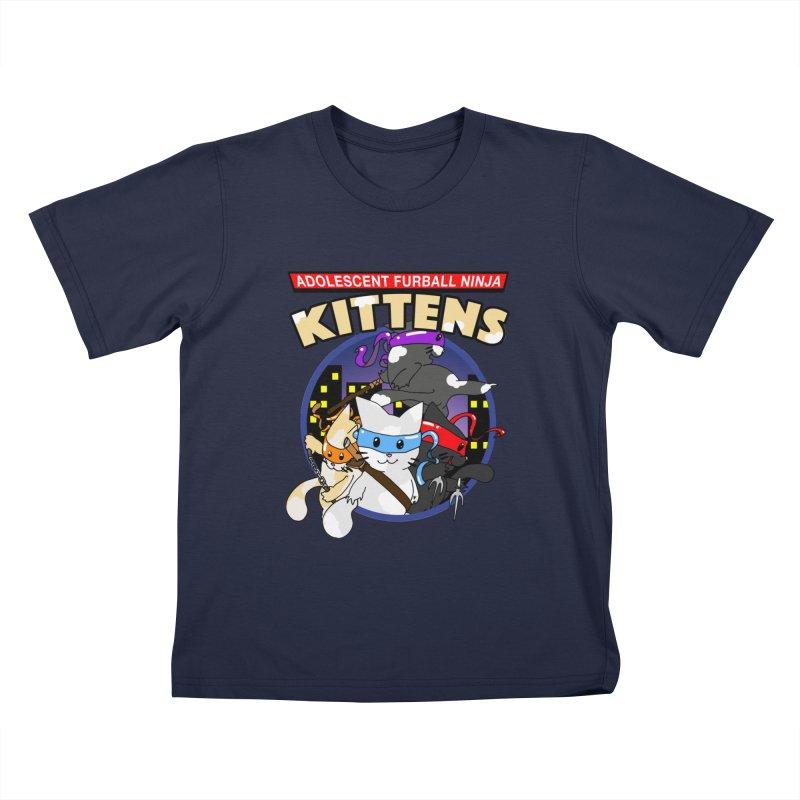 Adolescent Furball Ninja Kittens Kids T-Shirt by Norman Wilkerson Designs