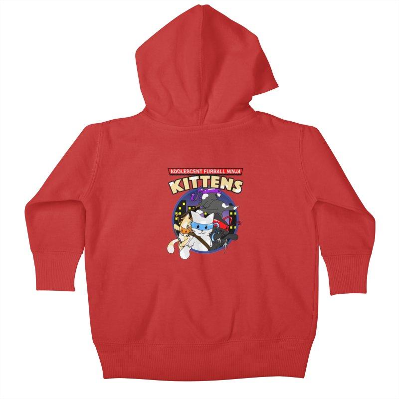 Adolescent Furball Ninja Kittens Kids Baby Zip-Up Hoody by Norman Wilkerson Designs
