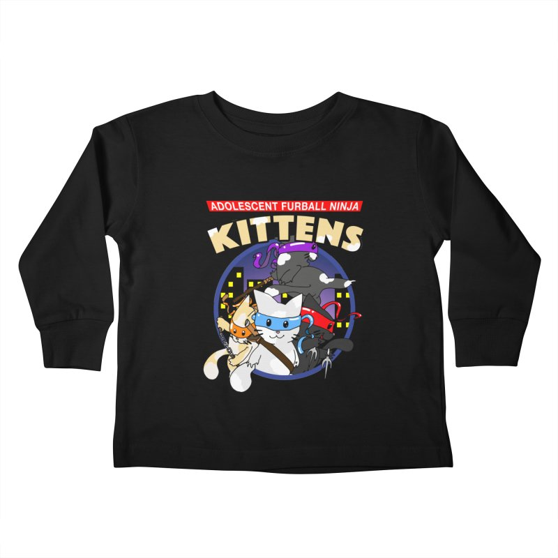 Adolescent Furball Ninja Kittens Kids Toddler Longsleeve T-Shirt by Norman Wilkerson Designs