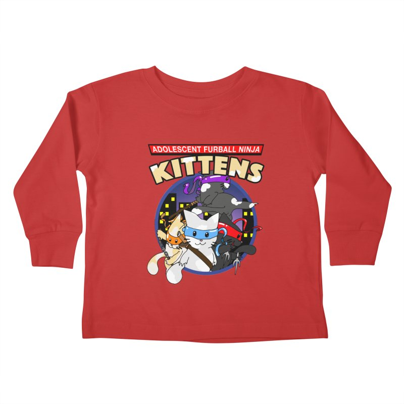 Adolescent Furball Ninja Kittens Kids Toddler Longsleeve T-Shirt by Norman Wilkerson Designs