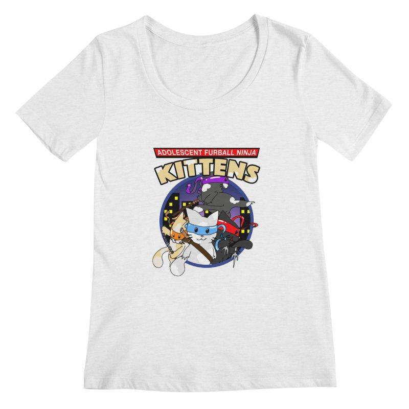 Adolescent Furball Ninja Kittens Women's Regular Scoop Neck by Norman Wilkerson Designs