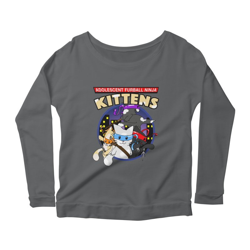 Adolescent Furball Ninja Kittens Women's Scoop Neck Longsleeve T-Shirt by Norman Wilkerson Designs