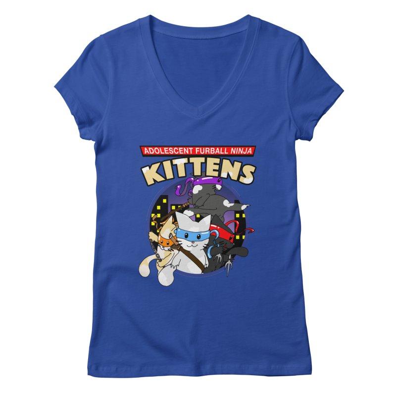 Adolescent Furball Ninja Kittens Women's Regular V-Neck by Norman Wilkerson Designs