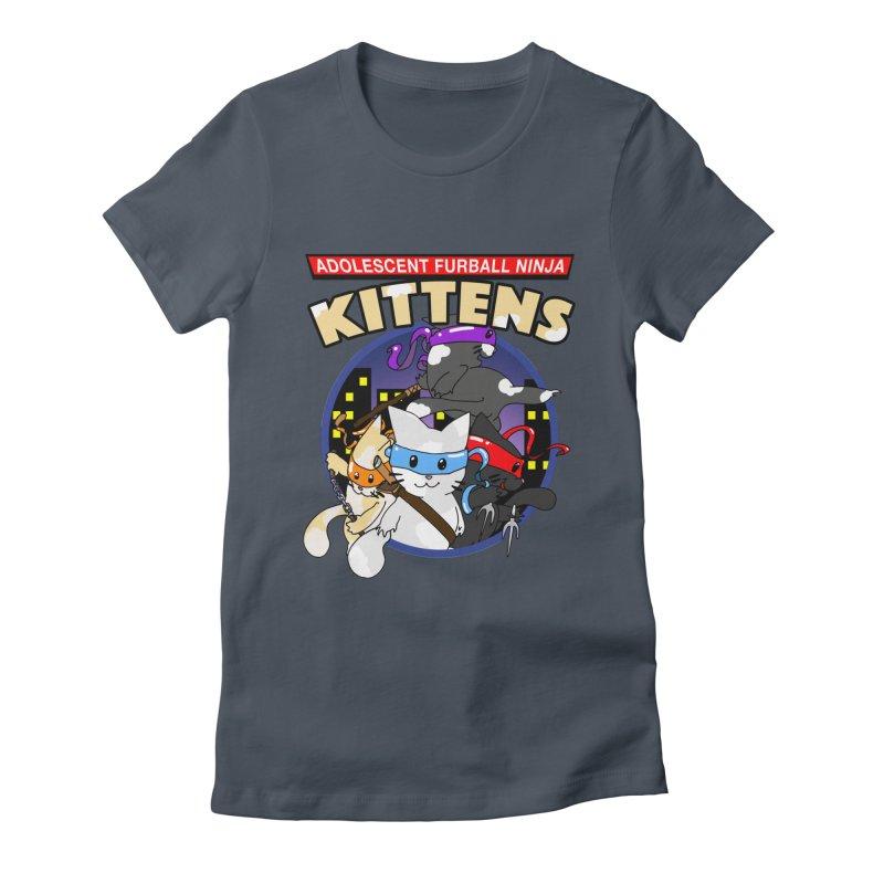 Adolescent Furball Ninja Kittens Women's T-Shirt by Norman Wilkerson Designs