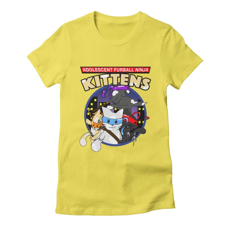Adolescent Furball Ninja Kittens Women's Fitted T-Shirt by Norman Wilkerson Designs
