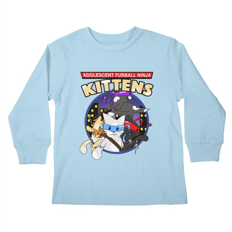 Adolescent Furball Ninja Kittens Kids Longsleeve T-Shirt by Norman Wilkerson Designs