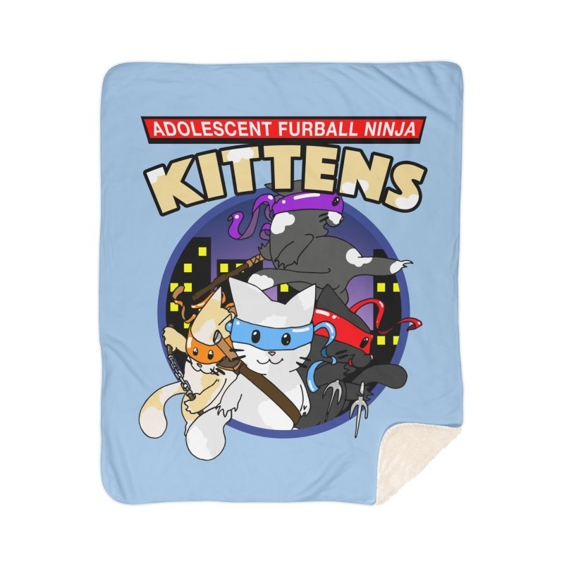 Adolescent Furball Ninja Kittens Home Sherpa Blanket Blanket by Norman Wilkerson Designs
