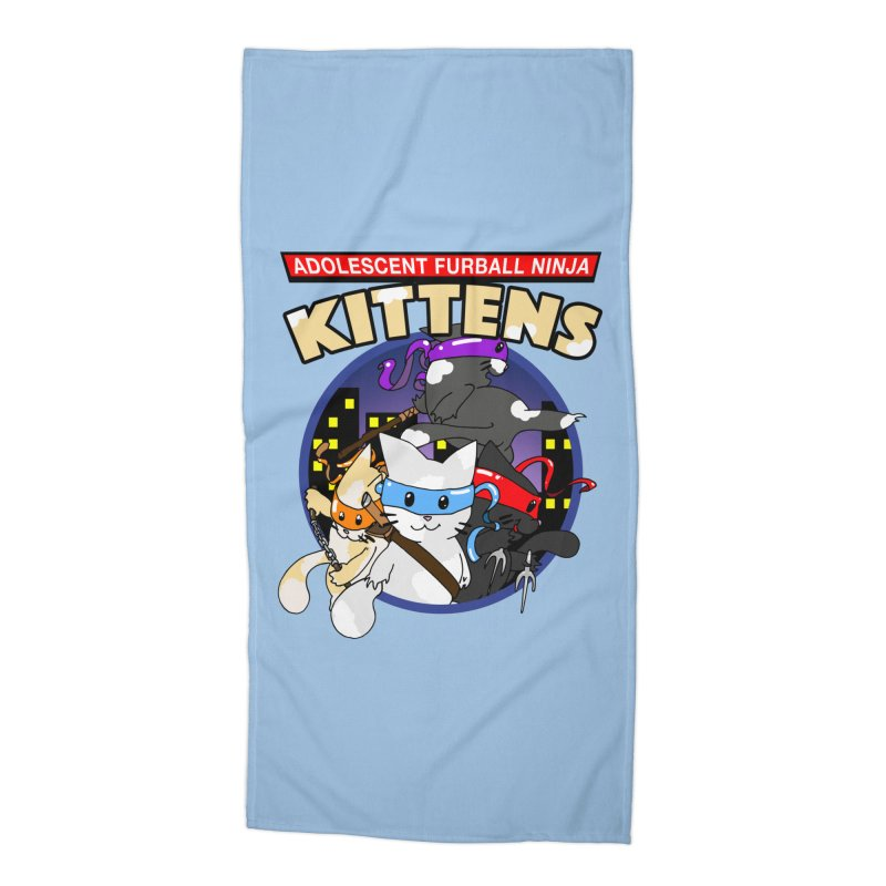 Adolescent Furball Ninja Kittens Accessories Beach Towel by Norman Wilkerson Designs