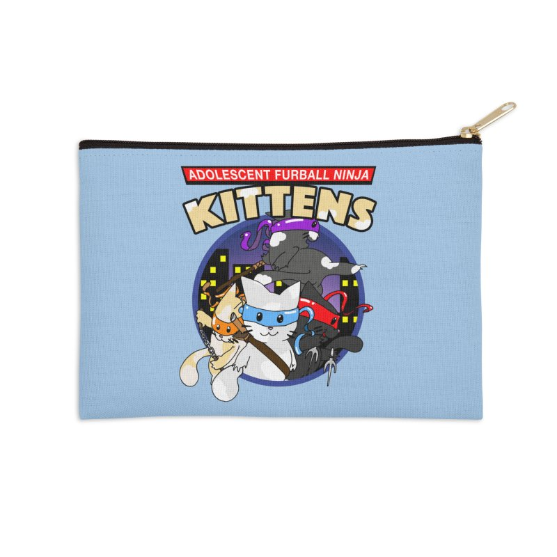 Adolescent Furball Ninja Kittens Accessories Zip Pouch by Norman Wilkerson Designs
