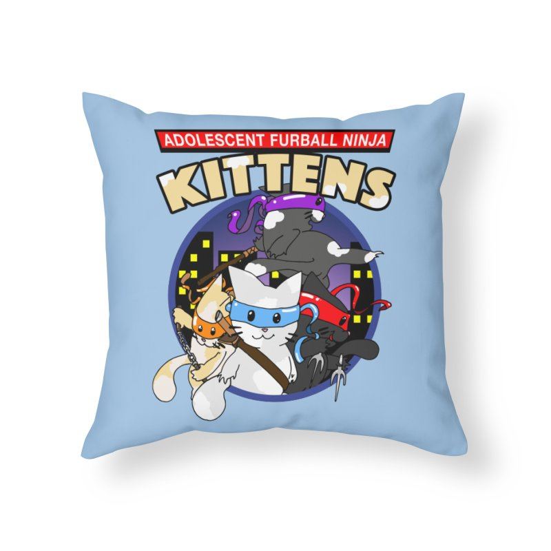 Adolescent Furball Ninja Kittens Home Throw Pillow by Norman Wilkerson Designs