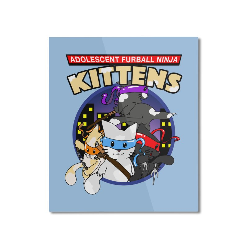 Adolescent Furball Ninja Kittens Home Mounted Aluminum Print by Norman Wilkerson Designs