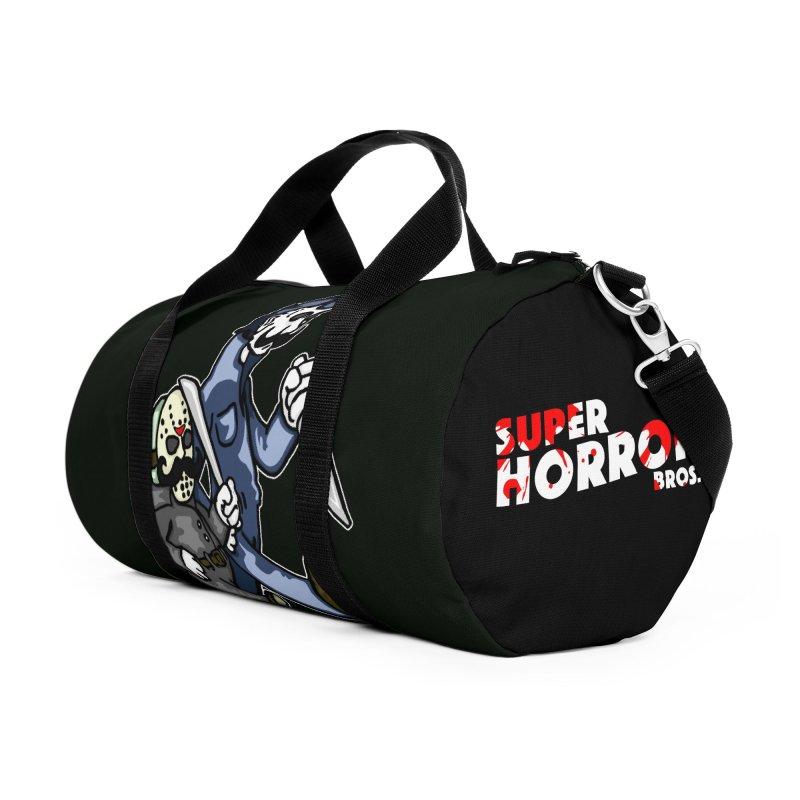 Super Horror Bros Accessories Duffel Bag Bag by Norman Wilkerson Designs
