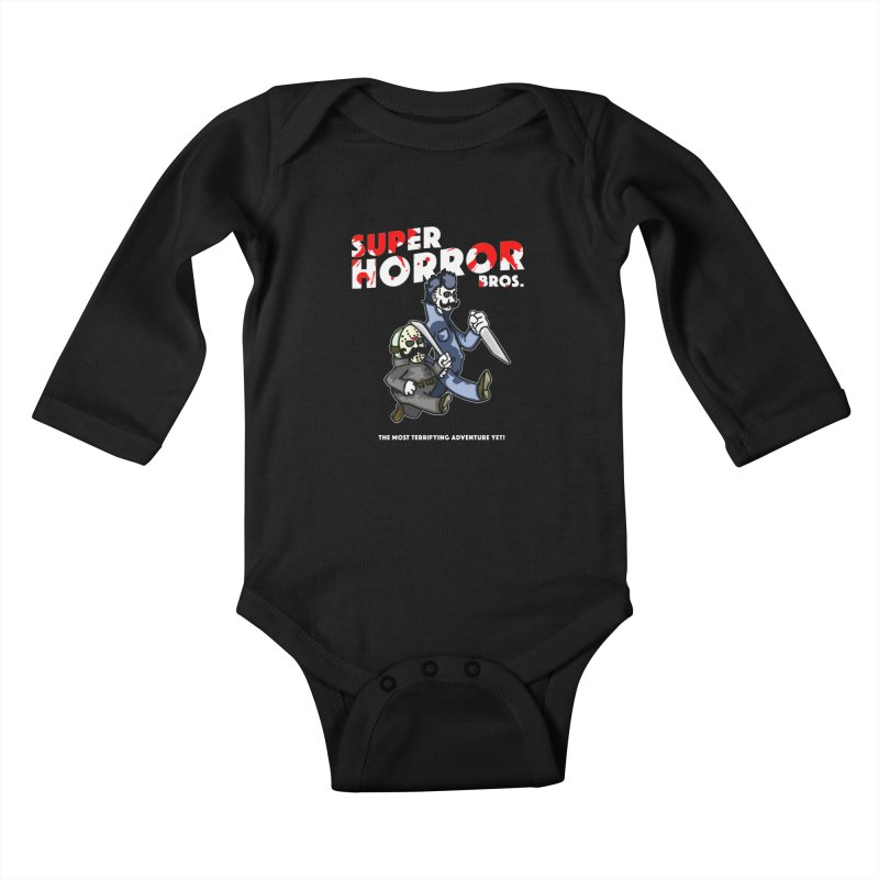 Super Horror Bros Kids Baby Longsleeve Bodysuit by Norman Wilkerson Designs