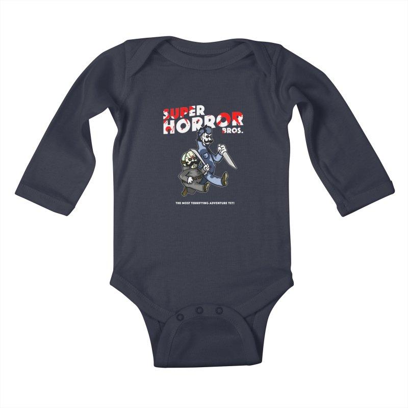 Super Horror Bros Kids Baby Longsleeve Bodysuit by Norman Wilkerson Designs