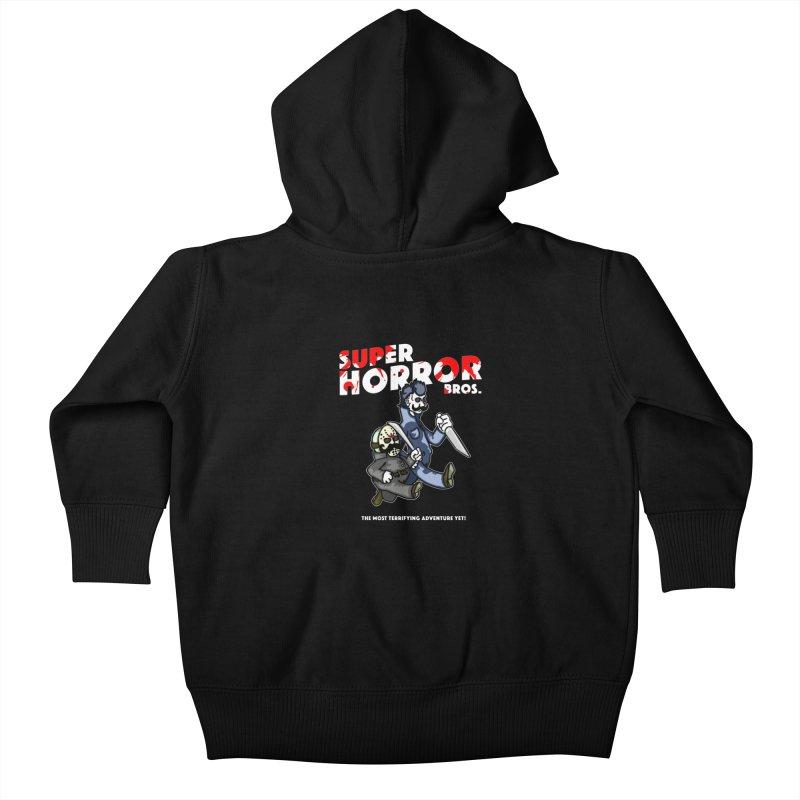 Super Horror Bros Kids Baby Zip-Up Hoody by Norman Wilkerson Designs