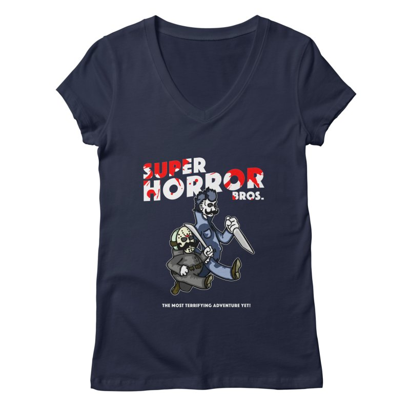 Super Horror Bros Women's Regular V-Neck by Norman Wilkerson Designs