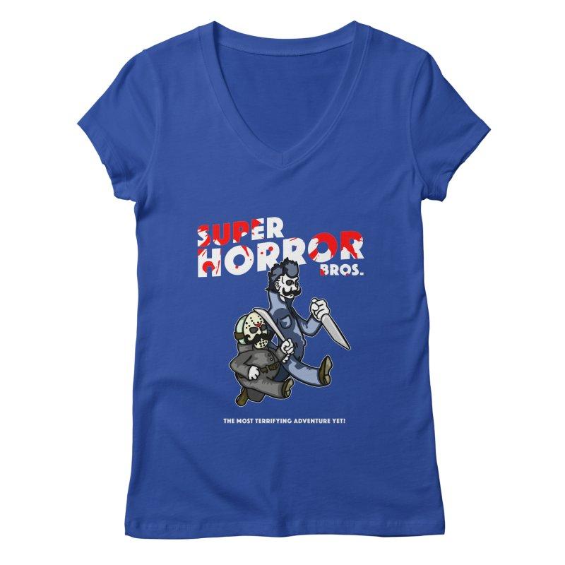Super Horror Bros Women's Regular V-Neck by Norman Wilkerson Designs