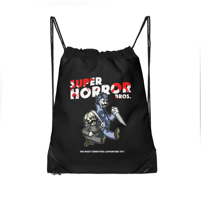 Super Horror Bros Accessories Drawstring Bag Bag by Norman Wilkerson Designs