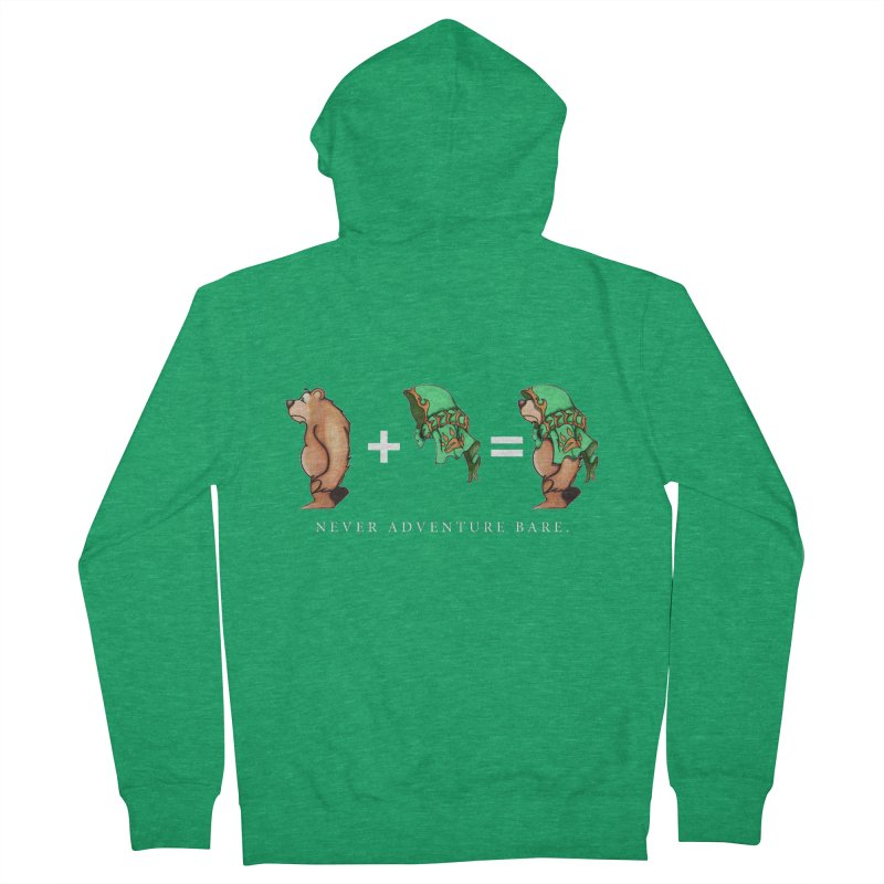Green Bear Women's French Terry Zip-Up Hoody by Norman Wilkerson Designs