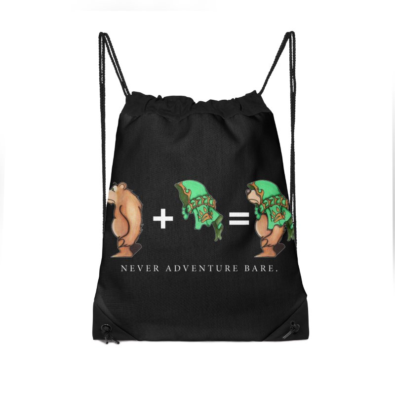 Green Bear Accessories Drawstring Bag Bag by Norman Wilkerson Designs
