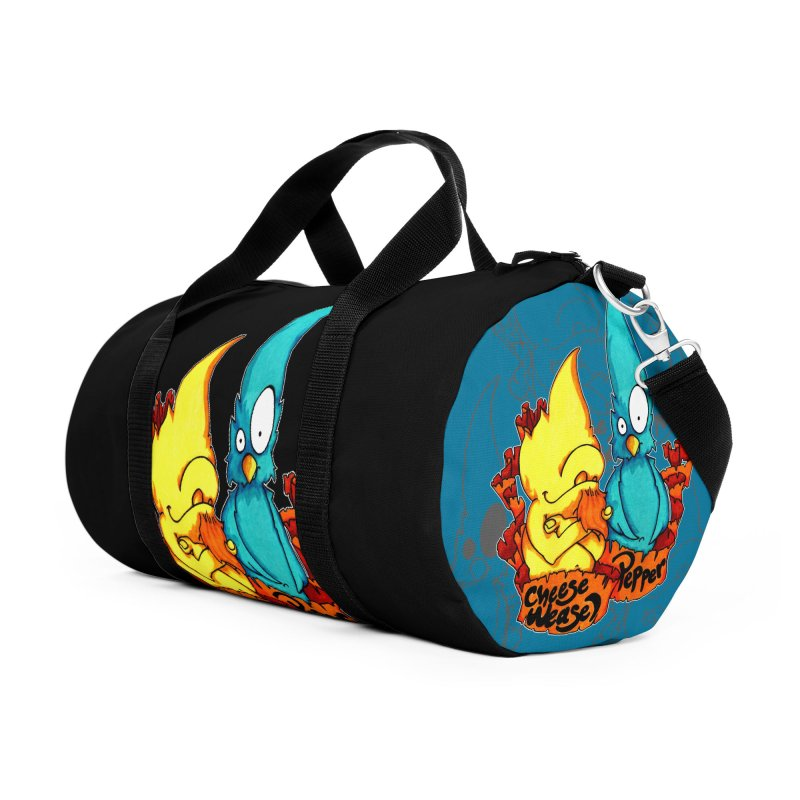 Cheese Weasel & Pepper Accessories Duffel Bag Bag by Norman Wilkerson Designs
