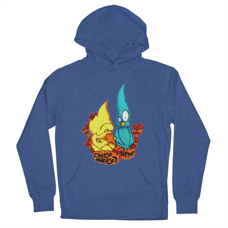 Cheese Weasel & Pepper Women's French Terry Pullover Hoody by Norman Wilkerson Designs