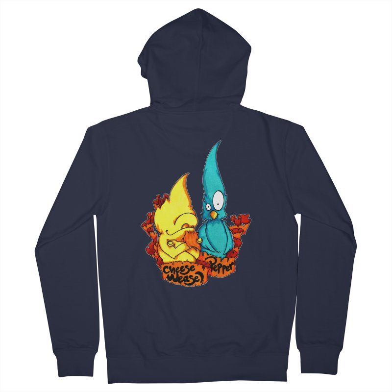 Cheese Weasel & Pepper Women's French Terry Zip-Up Hoody by Norman Wilkerson Designs