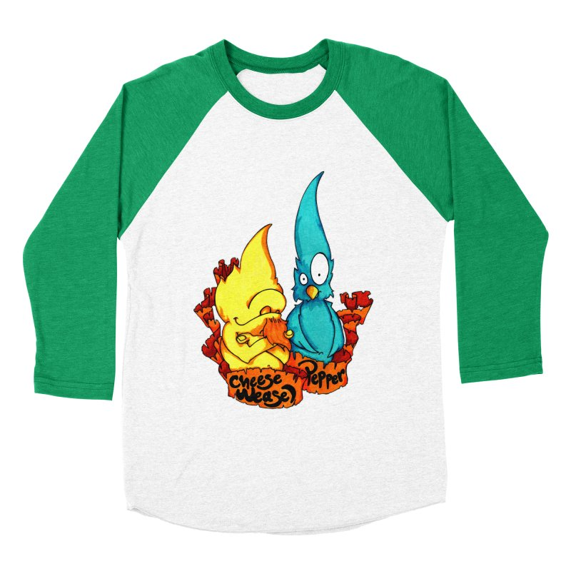 Cheese Weasel & Pepper Men's Baseball Triblend Longsleeve T-Shirt by Norman Wilkerson Designs