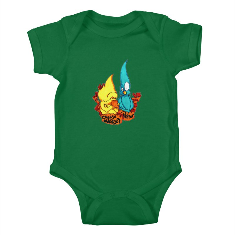 Cheese Weasel & Pepper Kids Baby Bodysuit by Norman Wilkerson Designs