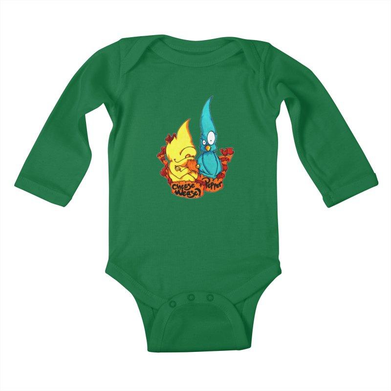 Cheese Weasel & Pepper Kids Baby Longsleeve Bodysuit by Norman Wilkerson Designs