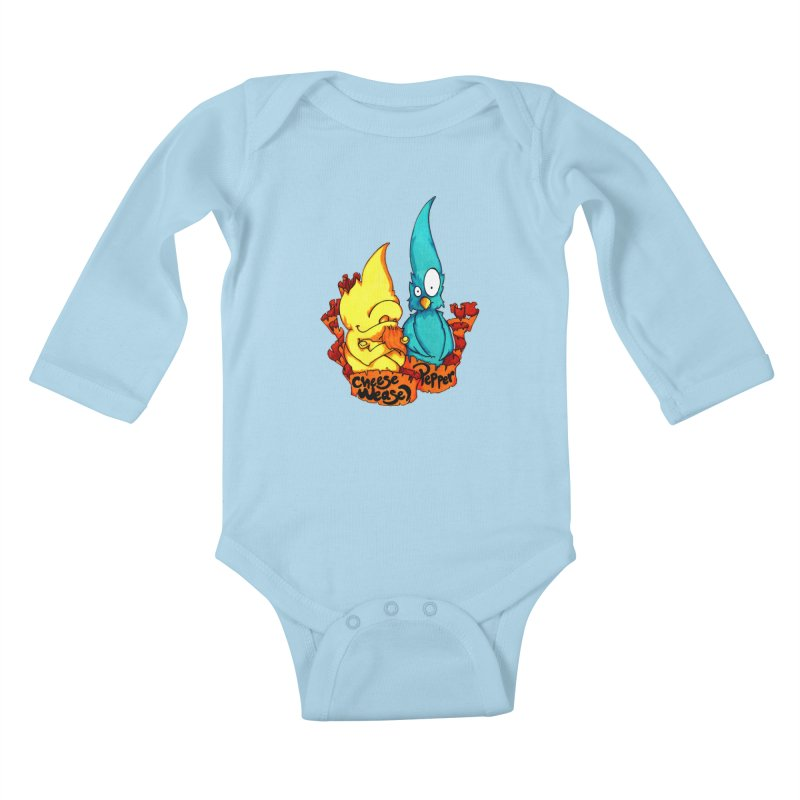 Cheese Weasel & Pepper Kids Baby Longsleeve Bodysuit by Norman Wilkerson Designs