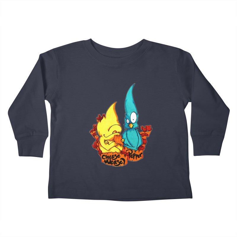 Cheese Weasel & Pepper Kids Toddler Longsleeve T-Shirt by Norman Wilkerson Designs
