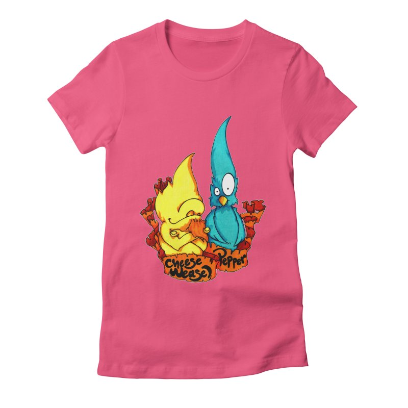 Cheese Weasel & Pepper Women's Fitted T-Shirt by Norman Wilkerson Designs