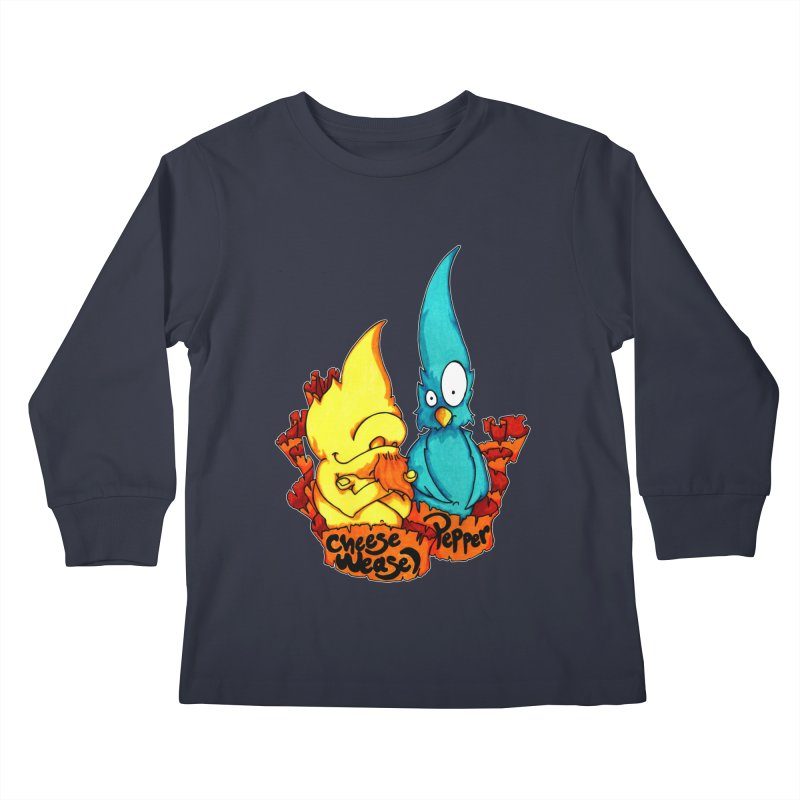 Cheese Weasel & Pepper Kids Longsleeve T-Shirt by Norman Wilkerson Designs