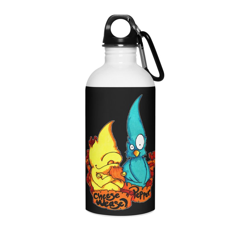 Cheese Weasel & Pepper Accessories Water Bottle by Norman Wilkerson Designs