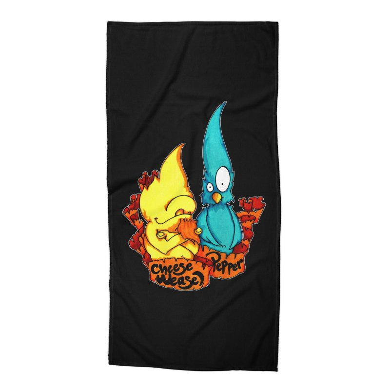 Cheese Weasel & Pepper Accessories Beach Towel by Norman Wilkerson Designs