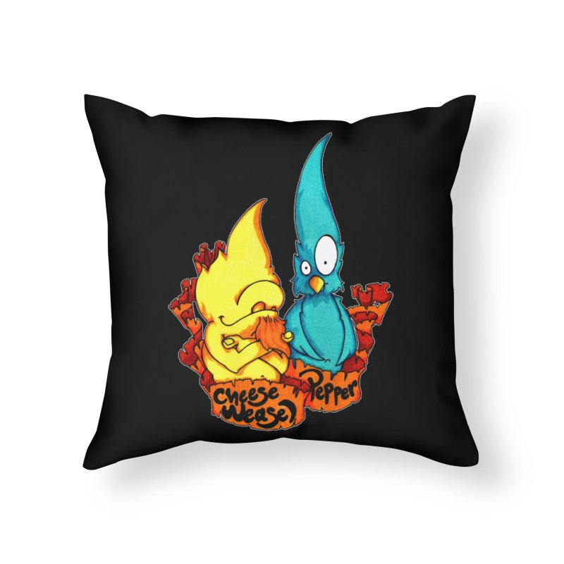 Cheese Weasel & Pepper Home Throw Pillow by Norman Wilkerson Designs