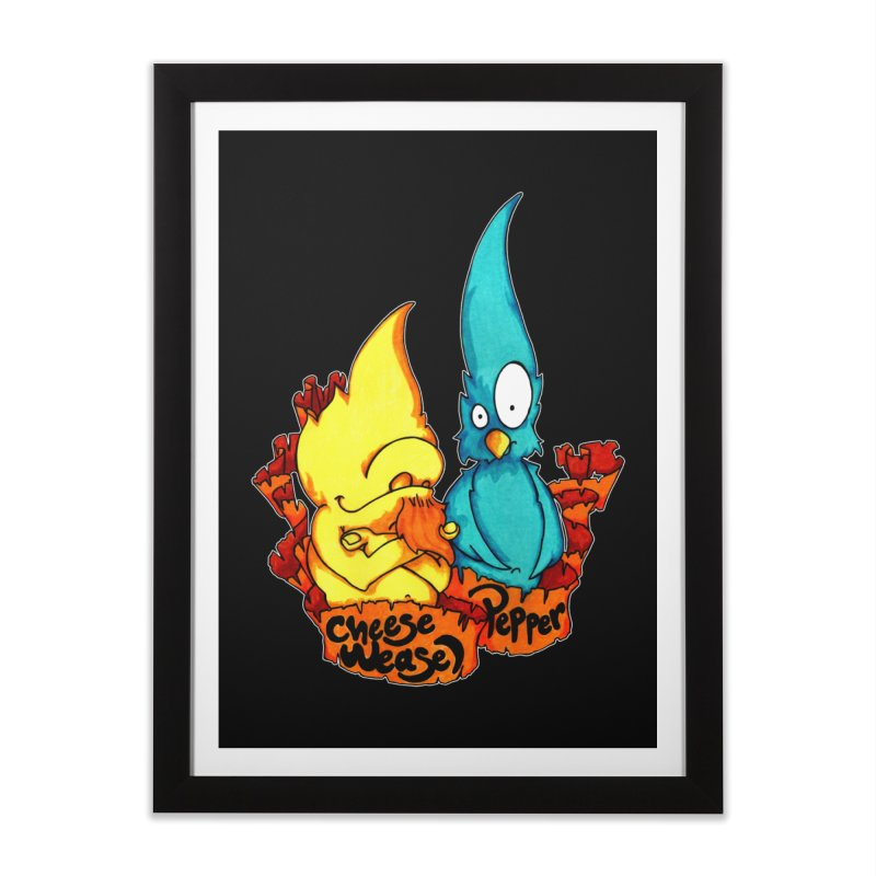 Cheese Weasel & Pepper Home Framed Fine Art Print by Norman Wilkerson Designs