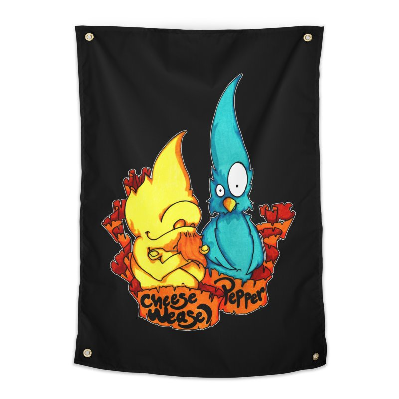 Cheese Weasel & Pepper Home Tapestry by Norman Wilkerson Designs