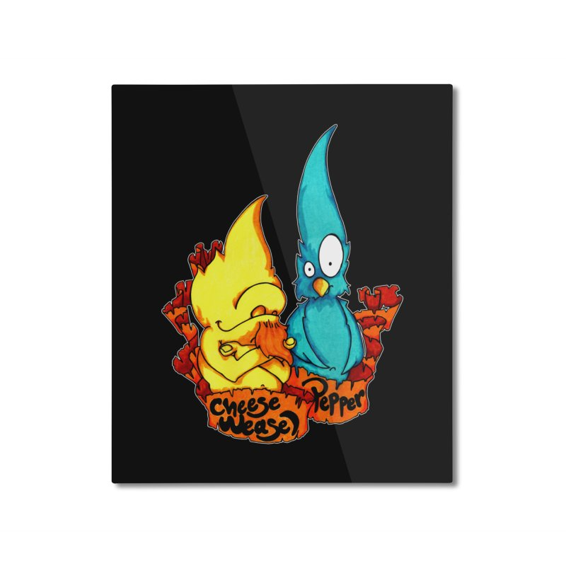 Cheese Weasel & Pepper Home Mounted Aluminum Print by Norman Wilkerson Designs