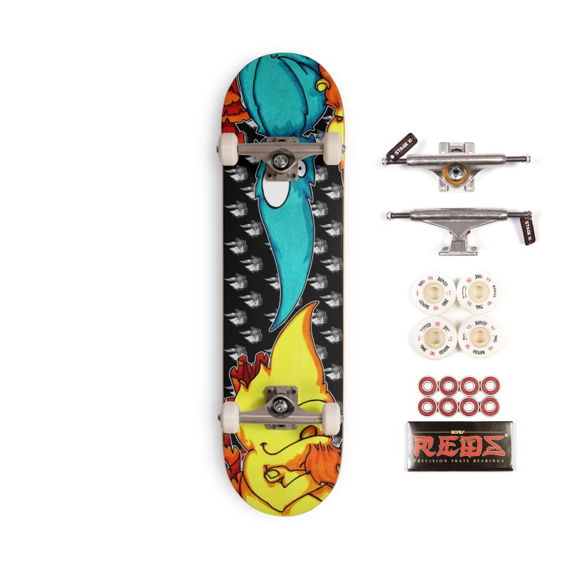 Cheese Weasel & Pepper Accessories Skateboard by Norman Wilkerson Designs