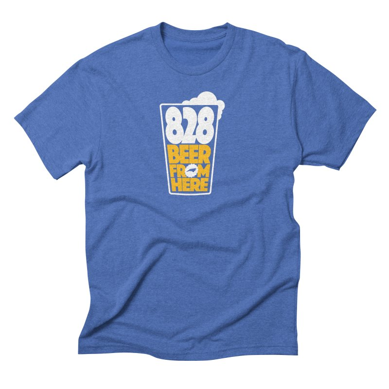 828 Beer From Here in Men's Triblend T-Shirt Blue Triblend by North Craftolina
