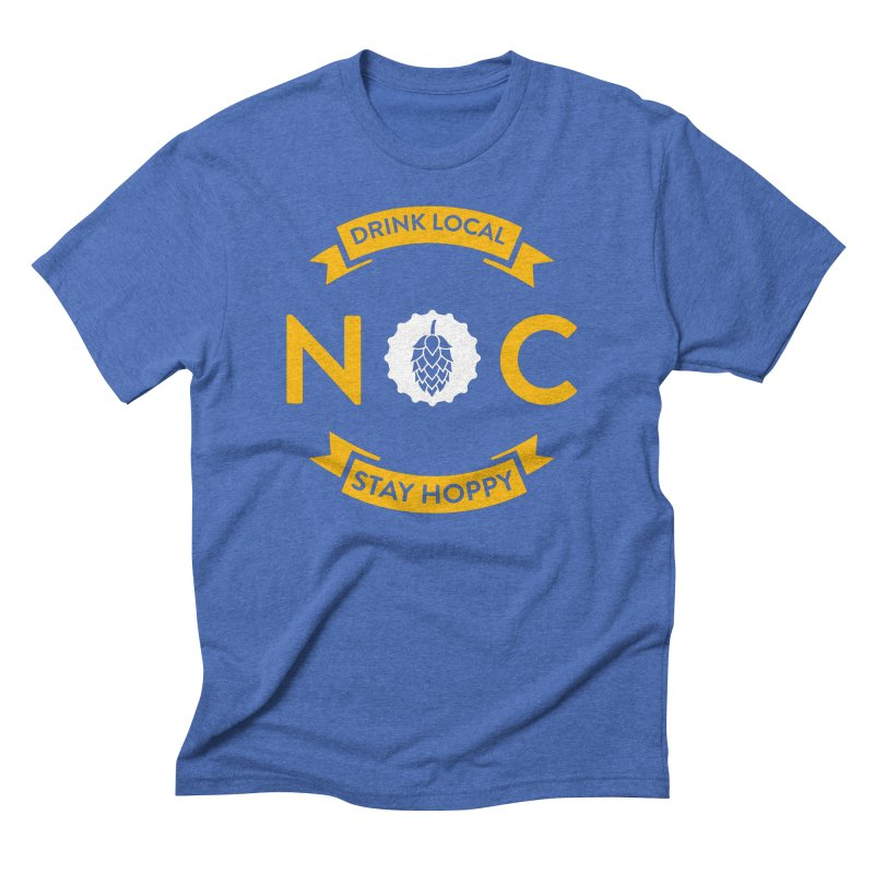 NC Drink Local Stay Hoppy in Men's Triblend T-Shirt Blue Triblend by North Craftolina