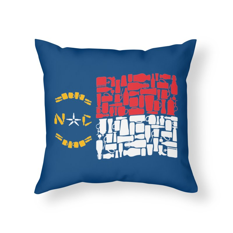 NC Bottle Flag Home Throw Pillow by North Craftolina