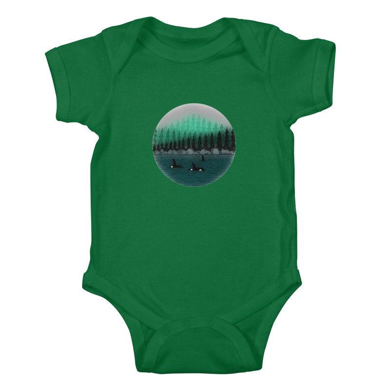 Orcas Kids Baby Bodysuit by northernfin's Artist Shop