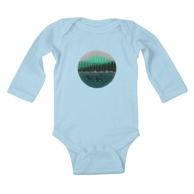 Orcas Kids Baby Longsleeve Bodysuit by northernfin's Artist Shop