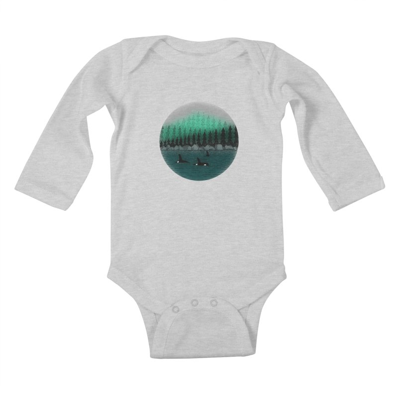 Orcas Kids Baby Longsleeve Bodysuit by northernfin's Artist Shop