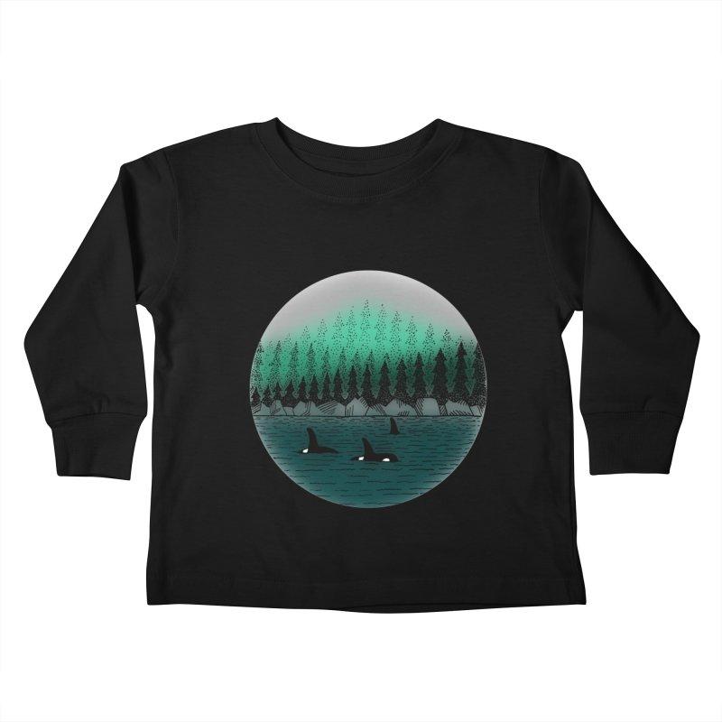 Orcas Kids Toddler Longsleeve T-Shirt by northernfin's Artist Shop